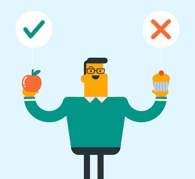 Homem caucasiano, escolhendo entre apple e cupcake