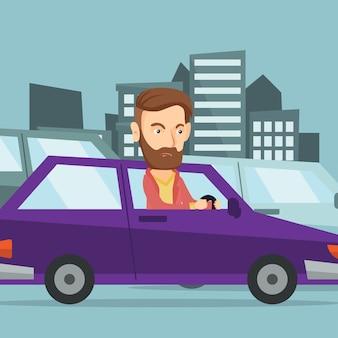 Homem caucasiano irritado no carro preso no engarrafamento.