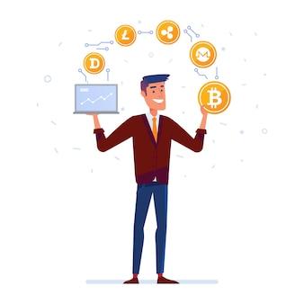Homem caucasiano juggles com moedas de moeda criptografada