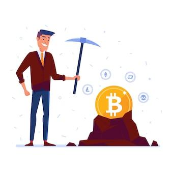 Homem caucasiano, mineração, cripto, moeda corrente, moedas
