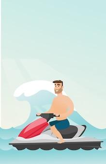 Homem caucasiano, montando, ligado, um, scooter água, em, a, mar