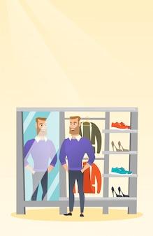 Homem caucasiano, tentando, suéter, em, um, vestindo vestiário