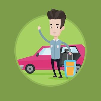Homem caucasiano, viajando de ilustração vetorial de carro