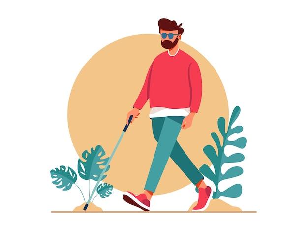Homem cego andando com vara. pessoas com deficiência vivendo uma vida ativa