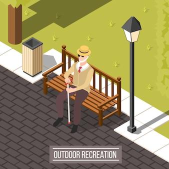 Homem cego ao ar livre