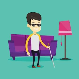 Homem cego com ilustração de pau.