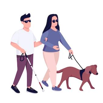 Homem cego e mulher com caráter sem rosto de cor plana de cão-guia. jovem casal com problema de visão caminhando juntos ilustração isolado dos desenhos animados para web design gráfico e animação