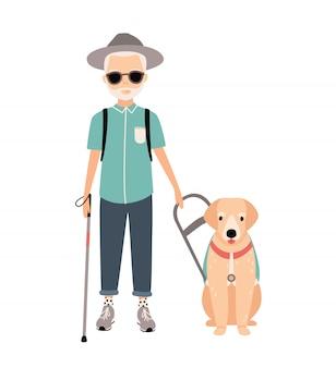 Homem cego. imagem colorida que caracteriza pessoas idosas com deficiência visual com o cão de guia no fundo branco. ilustração dos desenhos animados plana