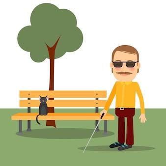 Homem cego no parque