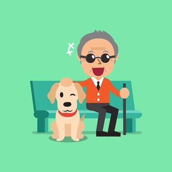 Homem cego sênior e seu cachorro