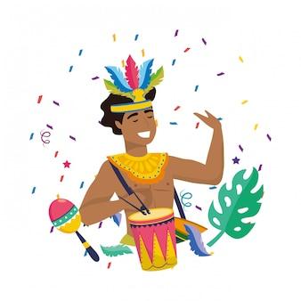 Homem, celebrando, brasil, carnaval, vetorial, ilustração