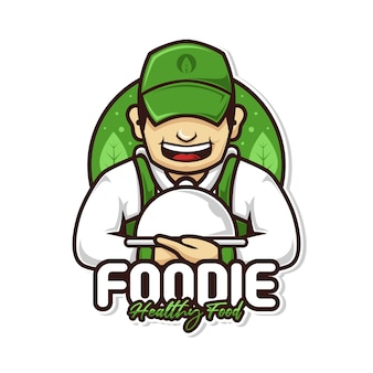 Homem chef de comida saudável com logotipo do mascote da tampa do prato