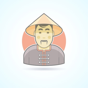 Homem chinês no ícone tradicional de pano. ilustração de avatar e pessoa. estilo delineado colorido.
