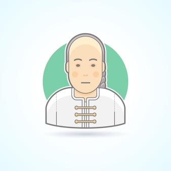 Homem chinês no ícone tradicional perto. ilustração de avatar e pessoa. estilo delineado colorido.