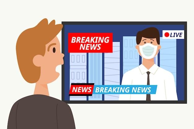 Homem chocado assistindo as últimas notícias