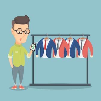 Homem chocado por um preço em uma loja de roupas.
