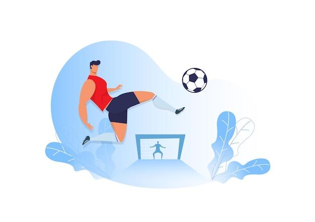Homem chute futebol.