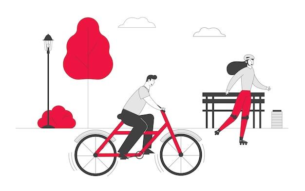 Homem ciclista andando de bicicleta mulher com patins ao ar livre em dia de verão no parque da cidade
