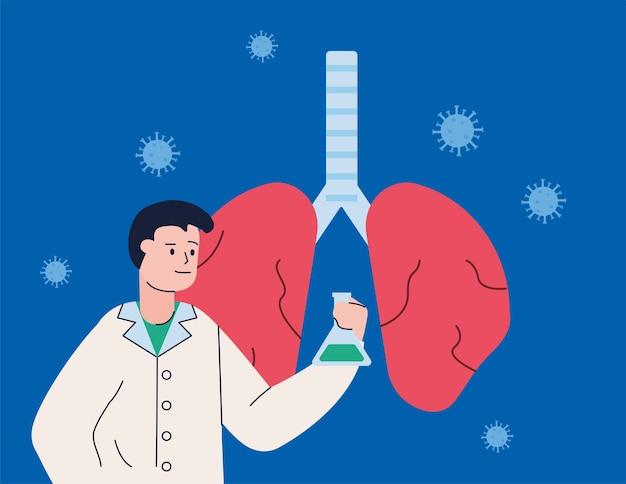 Homem científico com vacina de teste de tubo e pesquisa de pulmão