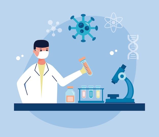 Homem científico trabalhando em pesquisa de vacinas de laboratório