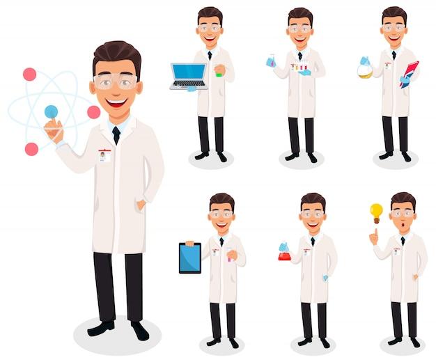 Homem cientista. personagem de desenho animado bonito