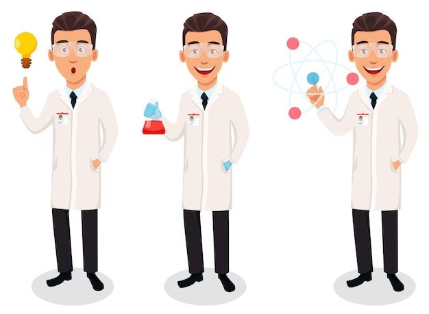 Homem cientista, personagem de desenho animado bonito