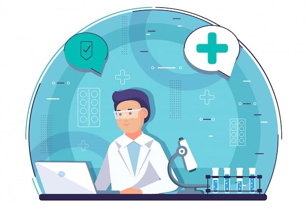 Homem cientista pesquisando em processo de laboratório