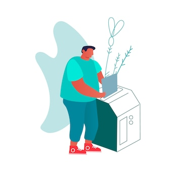 Homem coloca documento em papel para máquina de cópia ou trituradora.