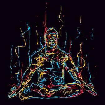 Homem colorido abstrato medita enquanto pratica ioga