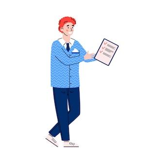 Homem com a área de transferência marcando as tarefas concluídas. ilustração em vetor plana isolada