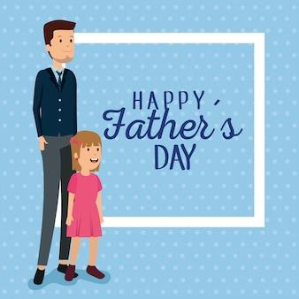 Homem com a filha para a celebração do dia dos pais