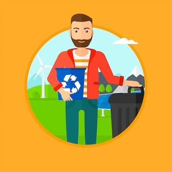 Homem com a lixeira e a lata de lixo.