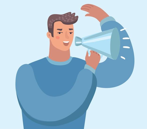 Homem com alto-falante