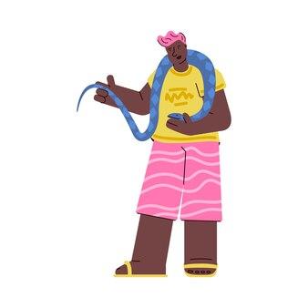 Homem com animal de estimação exótico - ilustração de cobra