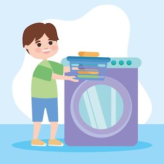 Homem com balde de roupas e máquina de lavar