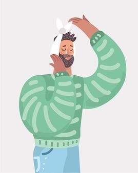 Homem com bandagem na cabeça chorando com dor de dente