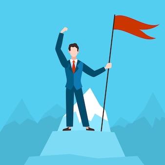 Homem com bandeira vermelha no pico