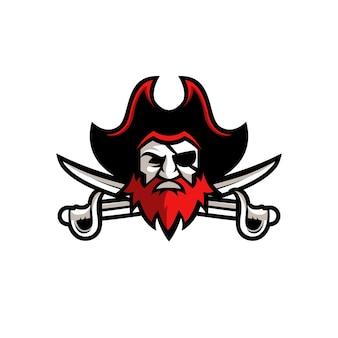 Homem com barba e bigode vestindo um modelo de logotipo do chapéu pirata