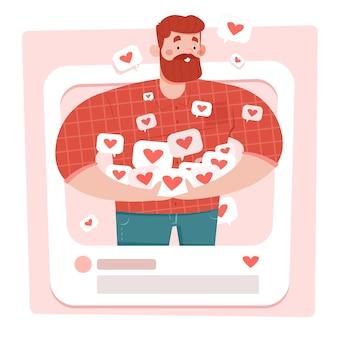 Homem com barba segurando a mídia social gosta de conceito abstrato