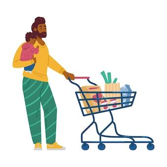 Homem com bebê comprando comida em ilustração vetorial plana de supermercado isolada