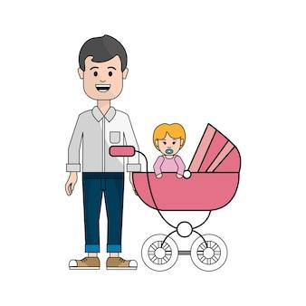 Homem com bigode e seu ícone de bebê