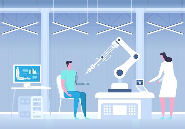 Homem com braço biônico. mão artificial. laboratório de ciências. medicina do futuro.