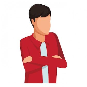 Homem, com, braços cruzados, avatar