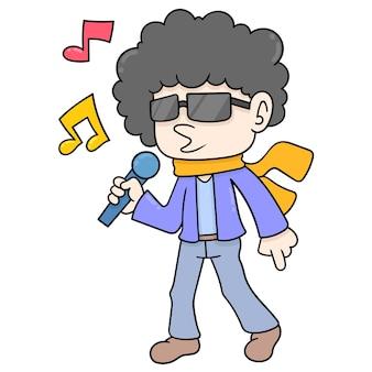 Homem com cabelo afro encaracolado segurando o microfone para cantar, arte de ilustração vetorial. imagem de ícone do doodle kawaii.