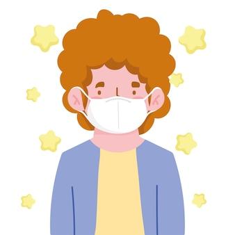 Homem com cabelo encaracolado e máscara médica nova normal
