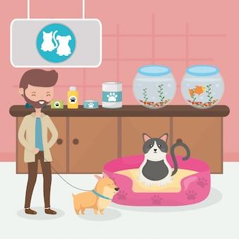 Homem com cachorro e gato na cama veterinário pet care