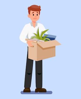 Homem, com, caixa, de, pertences, vetorial, ilustração