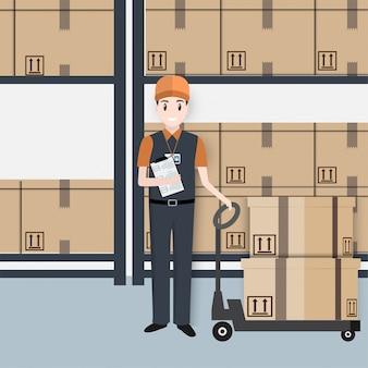 Homem, com, caixas, paleteira mão, elevador, ícone