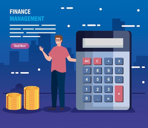 Homem com calculadora e pilha de moedas