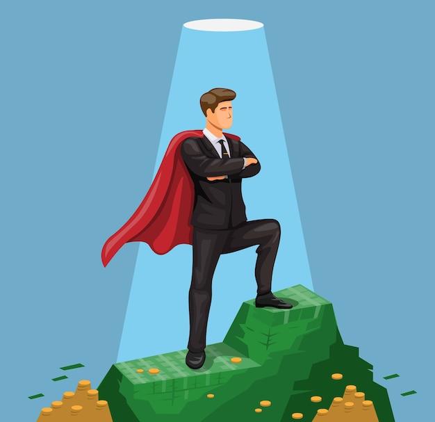 Homem com capa em pé na montanha de dinheiro, símbolo do conceito de empresário de sucesso em desenho animado